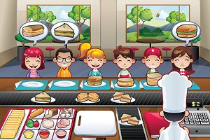 Restaurant fast food with kids