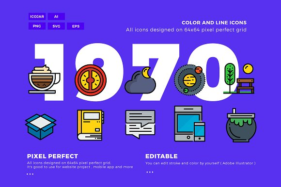 1970x2 Color Line Icons Pac-Graphicriver中文最全的素材分享平台
