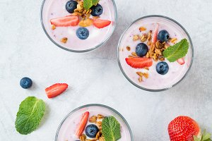 Healhy fruit and berry smoothies
