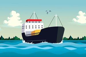 Commercial boat in sea or ocean