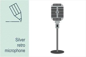 Silver retro microphone