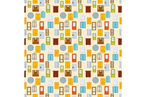Doors seamless pattern vector illustration.