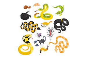 Vector flat snakes and other danger animals.