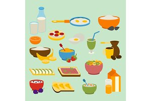Healthy breakfast vector set.