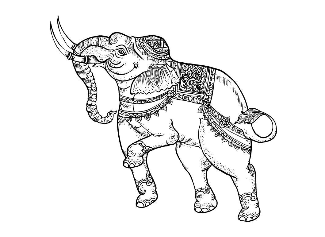 White Elephanttraditional Thai Art Illustrations Creative Market