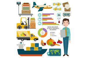 Vector infographic of worldwide shipping fruits.