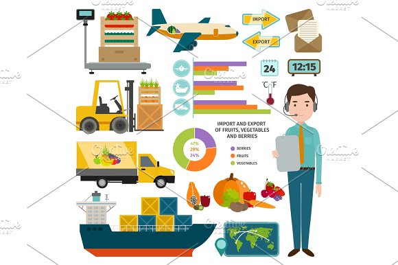 Vector Infographic Of Worldwide Shipping Fruits