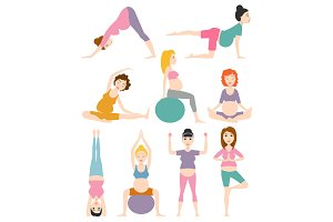 Pregnant woman yoga vector illustration.