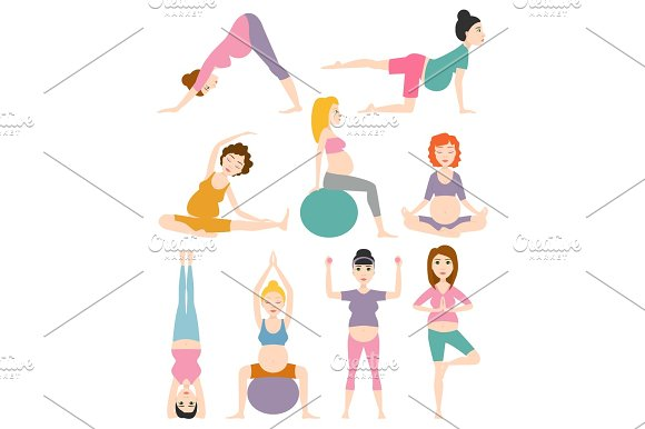 Pregnant Woman Yoga Vector Illustration