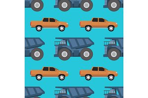 Cargo truck seamless pattern vector illustration.