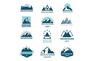 Mountain symbol vector set