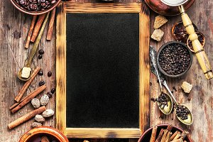 coffee spice and chalk board