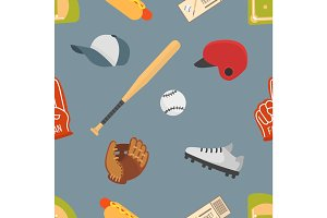 Cartoon baseball seamless pattern