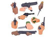 Hand firing with gun vector illustration
