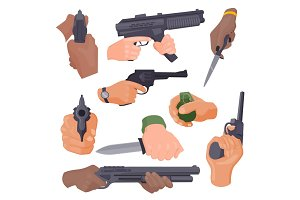 Hand firing with gun vector illustration