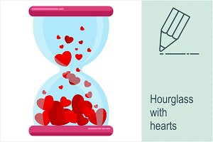 Hourglass with red hearts