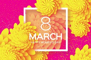 8 March. Yellow Paper Flower