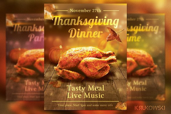 Thanksgiving Dinner Flyer Flyer Templates on Creative Market – Dinner Flyer