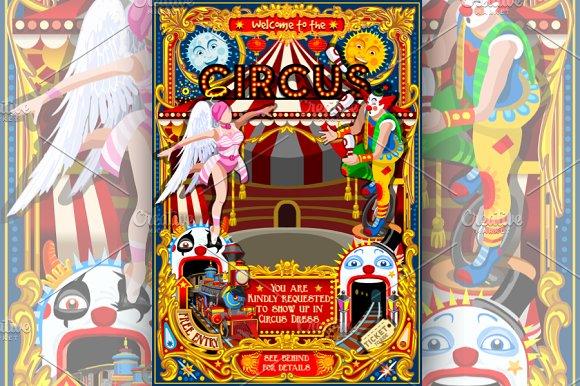 circus funfair carnival poster theme invitation templates