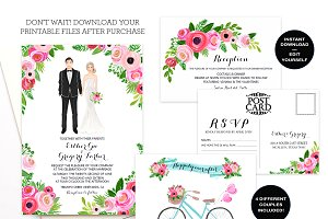 Editable Wedding Invitation Set