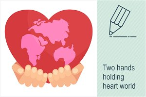 Two hands holding heart world