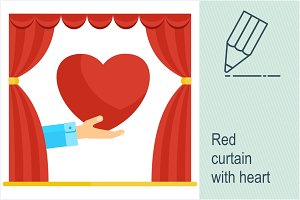 Red curtain with heart