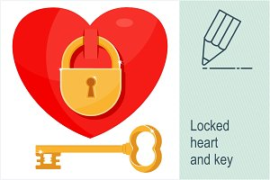 Locked heart and key
