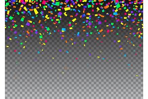 Vector illustration of cartoon seamless border background with carnival confetti