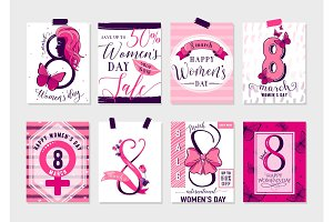 Collection of pink, black, white color womens day greeting card
