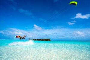 Girl Kitesurfing in Paradise II