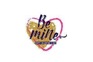 Vector illustration of luxury inspiration typography phrase Be mine with hearts