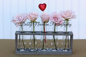 Pink Roses in Vase with Heart