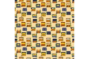 Treasure chest vector seamless pattern illustration.