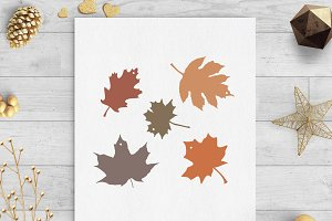 leaves gift tags svg & dxf