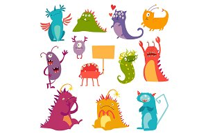 Monsters colorful cute characters