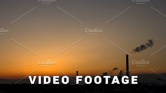 Thermal Power Station Smokes Stack Time-lapse