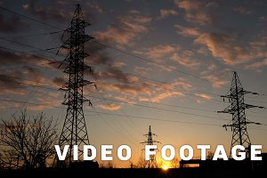 High voltage line sunset time-lapse