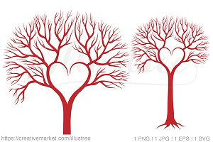Heart shaped tree, vector