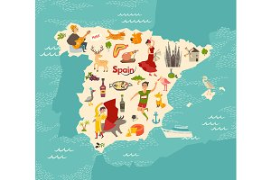 Spain map vector, illustrated map