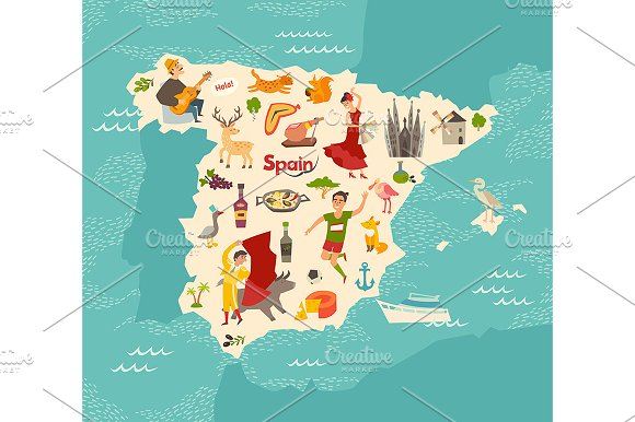 Map Of The Spain.Spain Map Vector Illustrated Map Creative Daddy