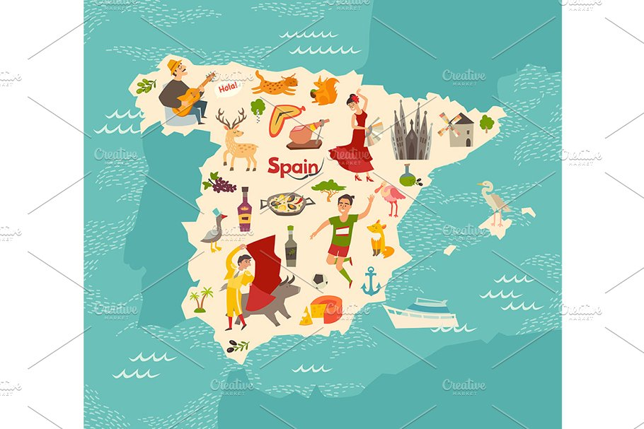 Map Of Spain Landmarks.Spain Map Vector Illustrated Map