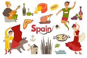 Spain traditional symbols set
