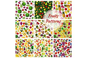 Set of seamless pattern fruits background