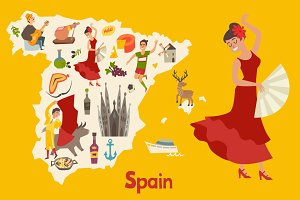 Spainish landmark, Spain vector map