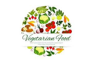 Vegan or vegetarian vegetable food banner