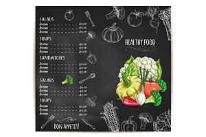 Restaurant menu with vegetables on chalkboard