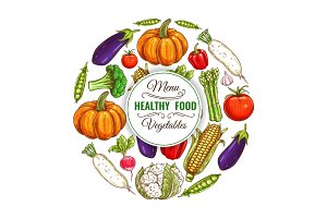 Healthy organic vegetables food banner