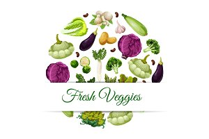 Banner for organic and natural vegetable food