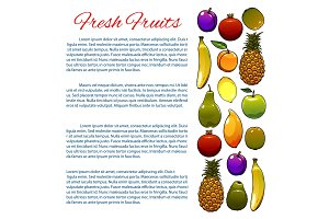 Vegetarian food, fruit poster design