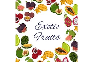 Fruits poster, tropical or exotic food